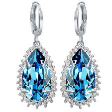 Waterdrop Fashion Women 925 Silver Sapphire Stud Dangle Hoop Earrings Jewelry