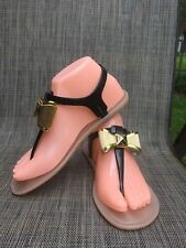 Kate Spade Black T-strap Buckle Gold Bow Rubber Jelly Sandals Size 7
