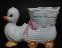 Mid-Century DUCK PULLING BOOTIE baby Nursery PLANTER pink ribbon / bow VINTAGE