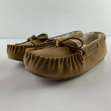 NEW Minnetonka Trapper Faux Fur Lined Moccasin Slipper Women 6 Tan Brown Flat
