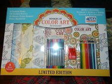 New~Wonders Of Color Art Set 5 Adult Coloring Books 24 Markers 18 Color Pencils