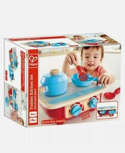 HAPE Portable Toddler Kitchen Set - Wooden 6 Pc Cooking Set