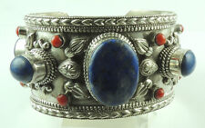 Cuff Bracelet with Lapis & Coral Sterling Silver Statement Elegant Jewelry