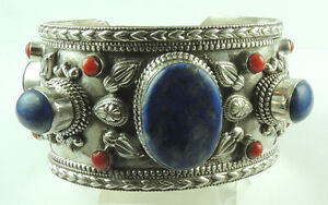 Cuff Bracelet  Lapis & Coral Sterling Silver Statement Wedding Mother of Bride