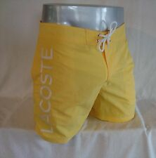 LACOSTE Yellow Poplin Lettering Nylon Men's Swim Trunks Board Shorts NEW Size XL