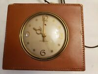 GENERAL ELECTRIC VTG EAST INDIAN LAMBSKIN ALARM CLOCK MID CENTURY IN MADE USA