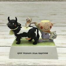 "Willitts Design Freckles ""Good Friends Stick Together Ceramic Music Box Boy Cow