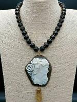 collana da donna cammeo quarzo fumè autentico collier con pendaglio argento 925