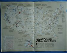 Vintage Circa 1987 National Parks Usa Map Old Original Nat Geo Atlas - Free S&H