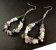 1 Tear Drop Pair of Fluorite Gemstone Chips Hoop Dangle Earrings - # B310