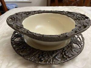 "ARTHUR COURT 2007 Metal Ceramic Bowl 14 1/4"" & Plate 14"" -2 Pc Set (EUC)"