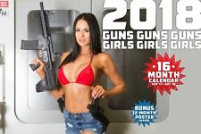 2018 GUNS AND GIRLS CALENDAR ar15 ak47 uzi 1911 sig sauer S&W ar10 ruger glock