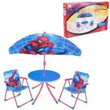 Children Marvel Spider Man Outdoor Patio Set, Kids Table & Folding Chairs Garden