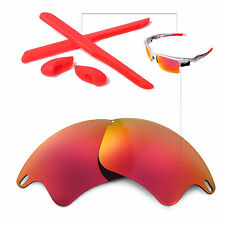 New WL Fire Red Lenses And Rubber Kit For Oakley Fast Jacket XL