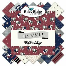 """Hey Mister by Riley Blake 42 5"""" Charm Pack 100% Cotton My Mind's Eye 5-7550-42"""