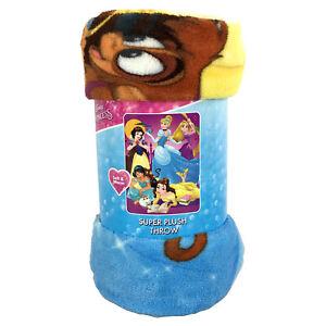 "Disney Princess Belle Jasmine Cinderella Super Plush Soft Throw Blanket 46""x60"""