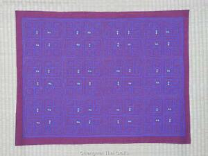 HMONG HAND EMBROIDERY REVERSE QUILT APPLIQUE' MASTERPIECE PURPLE-RED (#004)