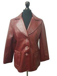 Ladies Vintage 1970's PVC Leather Jacket Vegan Size 10