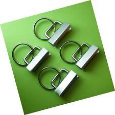 Reton 25 Sets - Key Fob Hardware with Split Ring - 1.25 Inch Wide White Nickel