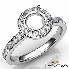 Round Semi Mount Diamond Engagement Halo Pave Set Ring 14k White Gold 0.45Ct