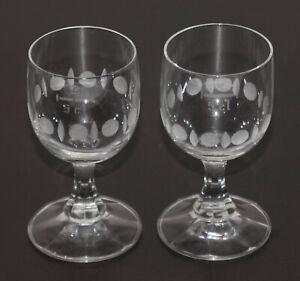 2 Schnapsgläser Stiel Glas umlaufendes Dekor 5cl 50 ml 9,5 cm ∅ 4,5 cm 70er/80er