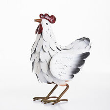 Large Metal White Chicken Hen Cockerel Rooster Garden Ornament