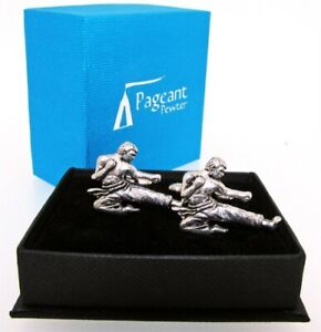 Karate English Silver Pewter Cuff Links in Presentation Gift Box