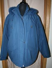 Women's Tudor Court Parka Jacket Coat XL Hooded Fur Trim Smoke Blue MINT