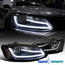 For 11-13 VW Jetta LED Projector Headlights Black w/ LED DRL Bar SpecD Tuning