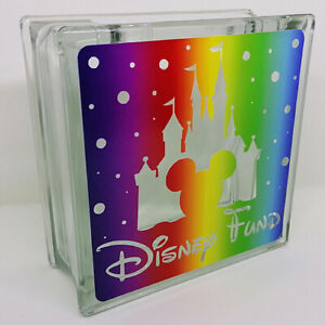 DISNEY FUND rainbow small Glass Money Box reusable moneybox Can be personalised!