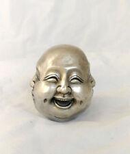 Antique Excellent Old Tibet Silver 4 visages Bouddha Tête statue figures 6 cm