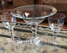 Large Glass Centerpiece Compote Balls Stems With 3 Candle Holder Set