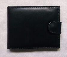 FAUX LEATHER VINTAGE WALLET BI-FOLD CARDS NOTES COINS ID 1990s BLACK PVC