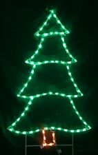 Small Pine Xmas Tree Holiday Outdoor LED Lighted Decoration Steel Wireframe