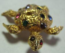 Golden Turtle Pin Brooch Multi-Colored Rhinestones Vintage