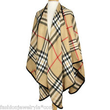 Beige Plaid Print Striped Poncho Cape
