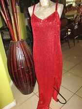 "WOW! Impressions>Elegant! Long RED Sequin Dress>23""Slit>No Size Tag 19"" Bust"