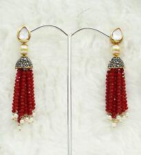 Babosa Sakhi Cherry Red Beaded Long Kundan Antique Tassel Jhumki Jhumka Earrings