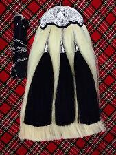 Original Long Horse Hair Sporran.White body with 3 black tassels.With Chain Belt