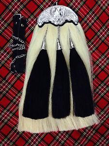 Original Long Horse Hair Sporran White Body With 3 Black Tassels With Chain Belt