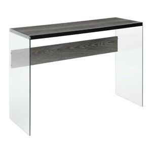 Convenience Concepts SoHo Console Table, Weathered Gray/Glass - 131562WGY
