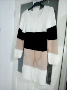 Ladies Knitted Long Cardigan Size 12 New With Two Pockets