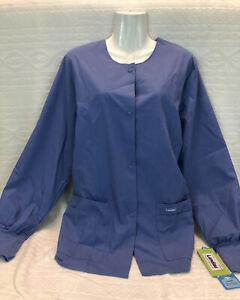 Landau Women's Snap Front Warm-up Scrub Jacket Blue Size Small