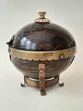 More details for antique georgian treen coconut shell brass & copper mounted box carved finial