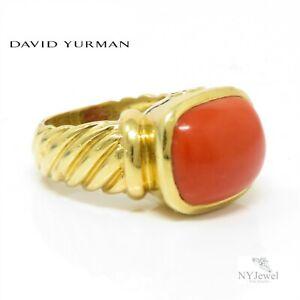 NYJEWEL David Yurman 18K Yellow Gold Natural Oxblood Coral Ring