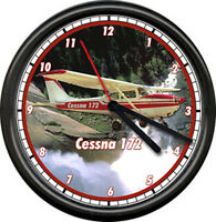 Cessna 172 Red Aircraft Pilot Airplane Personal Aircraft Sign Wall Clock
