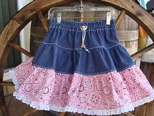 Denim W/Pink Bandana Western Twirl Skirt Sz 2 Handmade Brand NEW CUTE! USA