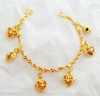 Heart 23K 24K THAI BAHT YELLOW GOLD GP Charm Bracelet 7 inch