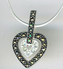 """925 Sterling Silver Cubic Zirconia & Marcasite Double Heart Pendant on 18"""" Chain"""