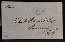 U.S. Express Mail 1837 or 1852 New York STAMPLESS LETTER To Providence, RI